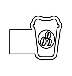 Monochrome contour with disposable coffee cup and vector