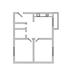 Apartment house floor plans  black dotted vector