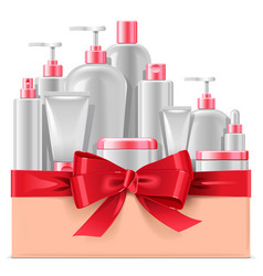 Cosmetic packaging with red bow vector