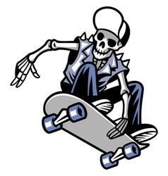 Skull punk ride a skateboard vector