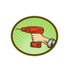 Hand holding a cordless drill side view vector