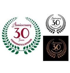Anniversary jubilee laurel wreaths vector image