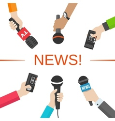 News journalism concept hands with microphones vector