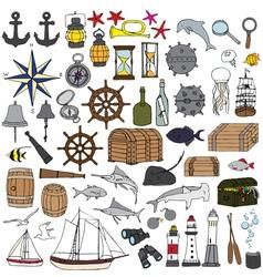 Marine hand painted symbols vector image