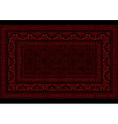 Design rug with bright border in red and burgundy vector