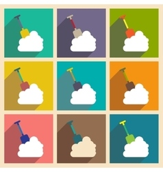 Set flat icons with long shadow snowdrift shovel vector