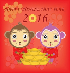 Happy new year the year of the monkey vector