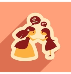 Flat web icon with long shadow bride and friend vector