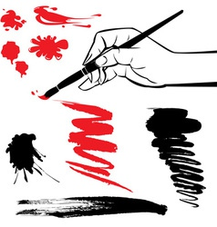 Set of black and red blots and hand with brush vector