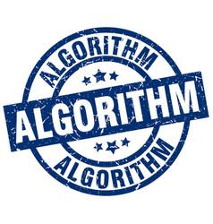 Algorithm blue round grunge stamp vector