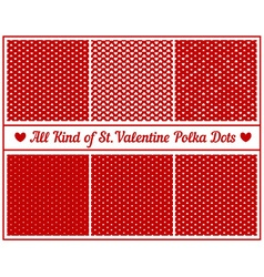 All kind of st valentines hearts polka dots set of vector