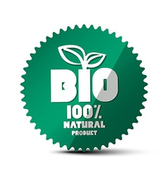 BIO Green Label 100 Natural Product Sticker Bio vector image