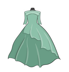 blue long wedding dress with a lush skirt eps 10 vector image