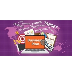 business plan concept with notebook graph vector image