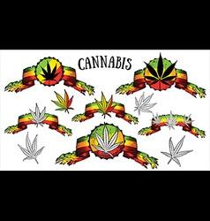 Cannabis Marijuana hemp leaf symbol jamaican color vector image vector image