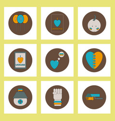Collection of icons in flat style national vector