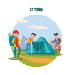 Colorful camping and backpacking template vector