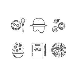 Cooking pizza line icons set vector image vector image