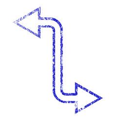 Curved exchange arrow grunge textured icon vector