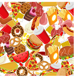 Food pattern feed ornament meat background pizza vector