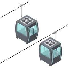 Funicular cable railway isometric view vector