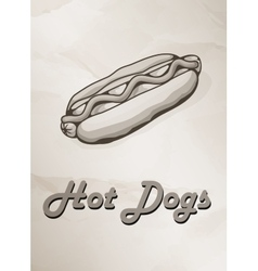 Grunge Cover for Fast Food Menu - hot dog on vector image