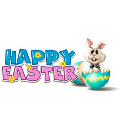 happy easter poster with bunny in blue egg vector image vector image