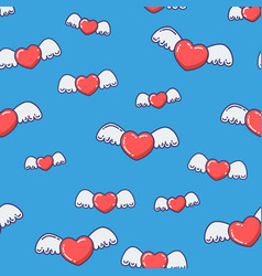 Hearts with wings seamless pattern vector
