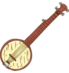 Isolated wooden banjo vector