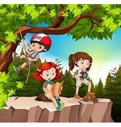 Kids hiking up the mountain vector image vector image