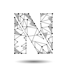low poly letter n english latin polygonal vector image vector image