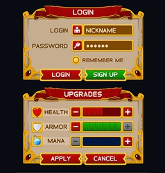Medieval game gui pack 2 vector