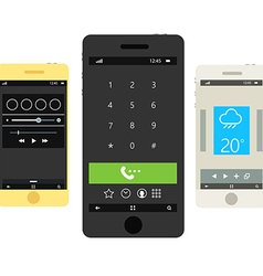 Modern smartphones with different interfaces vector image vector image