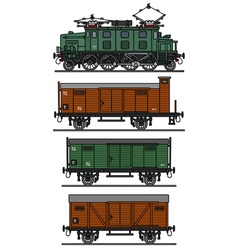 Old electric cargo train vector
