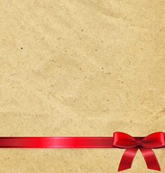 Old Paper With Red Bow vector image vector image