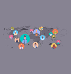 people group different occupation over world map vector image vector image