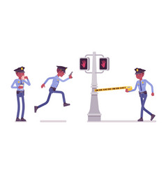 policeman serves and protects city vector image vector image