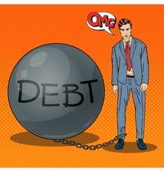 Pop art businessman chained to a stone debt ball vector
