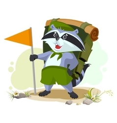 Scout raccoon with backpack goes camping summer vector
