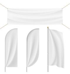 Set of realistic banner flag flagpole flagstaff vector