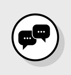 Speech bubbles sign flat black icon in vector