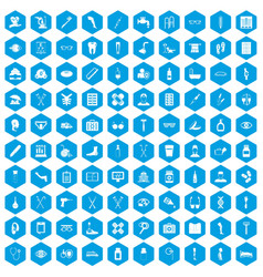 100 disabled healthcare icons set blue vector