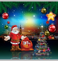 Christmas greeting with panorama of city and santa vector