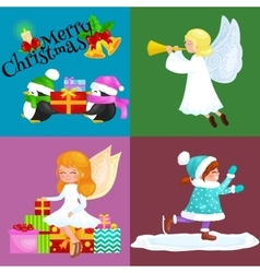 Santa claus snowman hats children enjoy winter vector