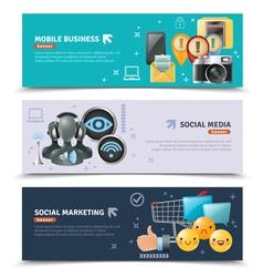 Social media horizontal banners vector