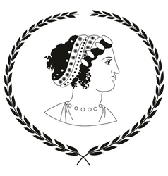 Logo with head of ancient Greek women vector image