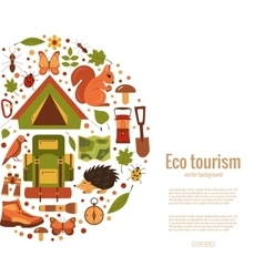 Cartoon eco tourism icons vector