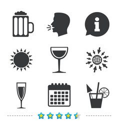 Alcoholic drinks signs champagne beer icons vector