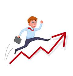 Businessman cartoon jump over growing chart vector