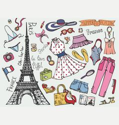 Paris france fashion summer vacation setwoman vector